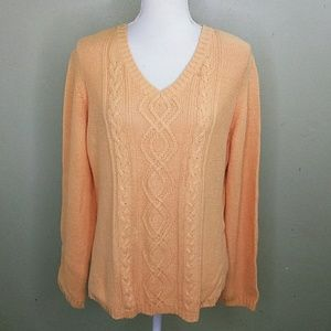 Casual Corner Apricot V Neck Cable Knit Sweater XL